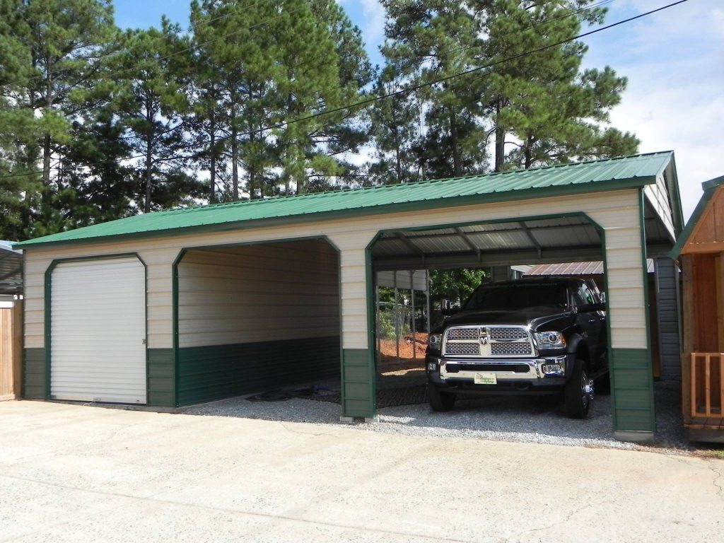 Metal combo unit carport garage georgia