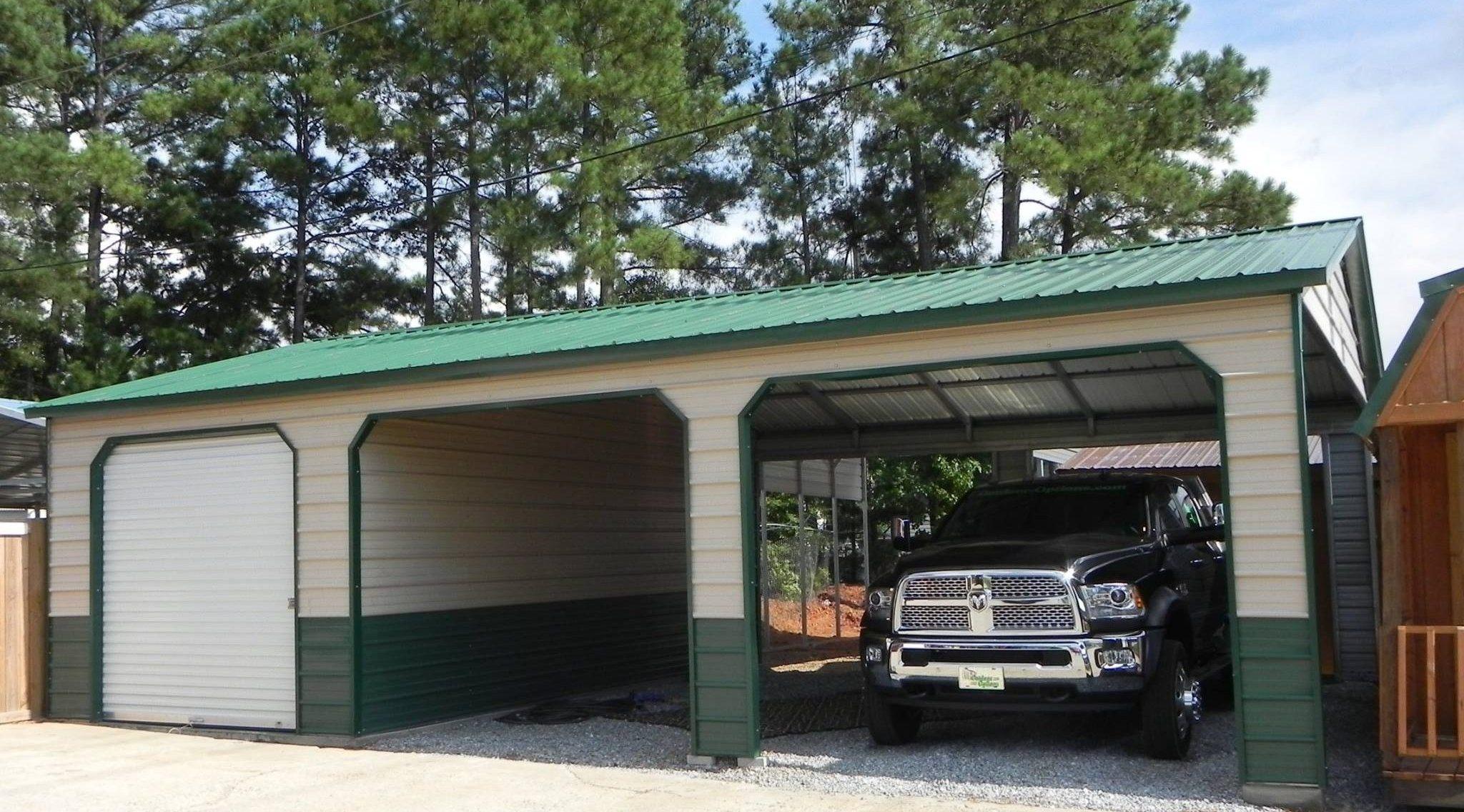Metal combo unit carport garage georgia